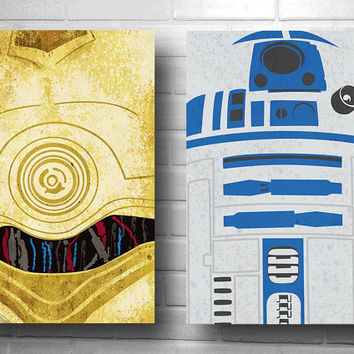 Star Wars drones set minimalist  C-3PO and R2D2 posters geekery