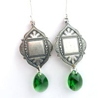Sterling silver Arabian Style Medallions, with dark green crystals earrings.