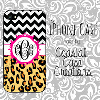 Chevron and Leopard Print and Pink Monogram Custom Apple iPhone 4 or 5Hard Plastic or Rubber Cell Phone Case Cover Original Design