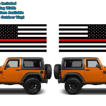 (2) 6 or 12 inch Fire Fighter Thin Red Line Standard USA Flag Vinyl Decals Fits Jeep Trucks Universal