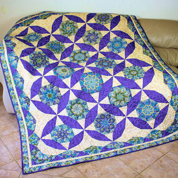 Twin Bed Quilt - Quilted Stack and Whack in Purple, Turquoise Blue and Olive Green - Purple Paisley Peacocks, Dorm Quilt, Large Sofa Throw