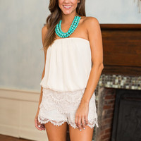 Elegantly Expressed Romper, Ivory