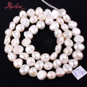 "5-7mm White Freeform Freshwater Pearl Natural Stone Beads For DIY Necklace Bracelat Jewelry Making Loose Strand 14""Free Shipping"