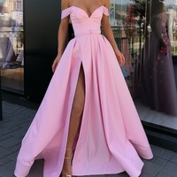 Off the Shoulder Pink Evening Gown with Slit,2019 Prom Dress Formal Gowns G4750