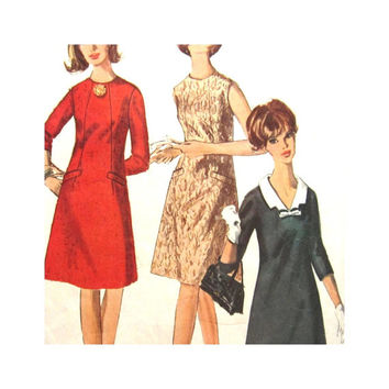 Vintage Pattern Simpicity 6229 Misses One Piece Dress Size 12 1960s