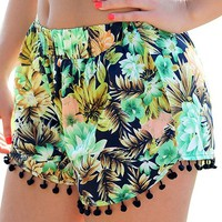 Creabygirls Women's Small Balls Tassel Edge Floral Print Beach Shorts