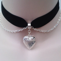 Silver Plated Opening HEART LOCKET With Belcher Chain on BLACK  (or choose another colour) 16mm Velvet Ribbon Choker -ky