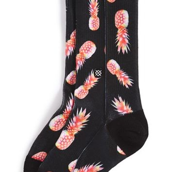Girl's Stance 'Gone Pineapple' Socks, Size 2.5-5.5 - Black