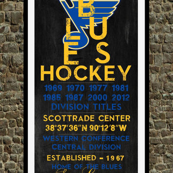 St. Louis Blues - Eye Chart chalkboard print - sports, Baseball, gift for fathers day, subway sign - Eyechart wall art