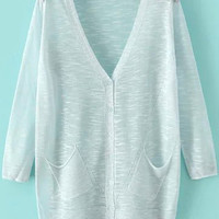 Pale Blue V-neck Long Sleeve Pockets Cardigan with Buttons