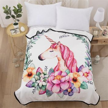 Cilected Pink Unicorn Blanket For Beds Sofa Cover Floral Super Soft Plush Throw Blankets Bedding Protector Sheet 150*200cm