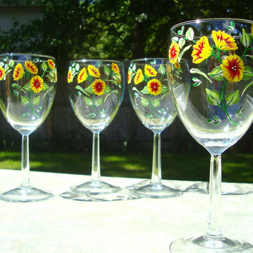 Summer Flowers Hand Painted Wine Glasses
