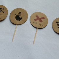 Pirate Birthday Party cupcake toppers Treasure Map Skull cross bones Pirate Party circle cupcake topper skull bone cupcakes x marks the spot