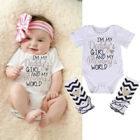 I'm Daddy's Girl And Mommy's World Infant Baby Onesuit Bodysuit