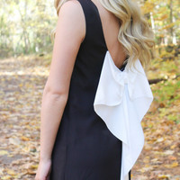 Black and White Bow Back Tunic Dress