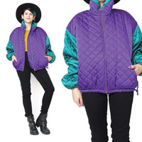80s Quilted Bomber Jacket Hip Hop Satin Bomber Jacket Color Block Sleeves Unisex Ski Puffy Winter Jacket Zip Up Colorful Winter Womens (M/L)