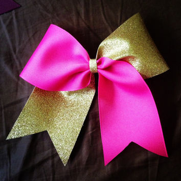 Pink and gold glitter cheer bow by BowsByEm on Etsy
