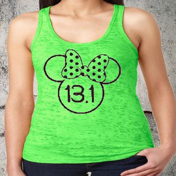 Marathon 13.1 Minnie Racerback Burnout Tank Funny Workout Tanks Women's Fitness Exercise Gym Group Shirts Lifting