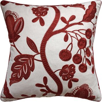 Alladale Embroidery Red Decorative Pillow