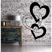 Entwined Hearts Love Romantic Decor Wall MURAL Vinyl Art Sticker Unique Gift M175