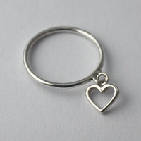 Silver charm Heart Ring... Sterling silver Stacking ring with Heart charm