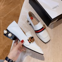 GUCCI Double G Button Classic Pearl heel shoes