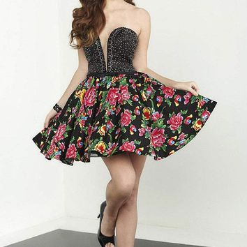 Tiffany Homecoming - 27083 Strapless Embellished Floral Printed Cocktail Dress