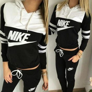DCCKW2M NIKE Print Hoodie Top Sweater Pants Sweatpants Set Two-Piece Sportswear