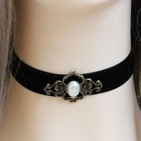 "Gothic Vampire Black Velvet Choker Necklace with Simulated Pearl Adjustable(approx 11.8""-13.7"")"