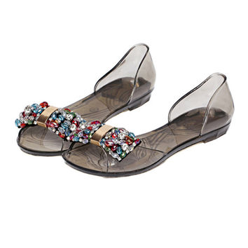 Bowknot Dot Transparent Jelly Shoes Peep-toe Sandals Beach   black