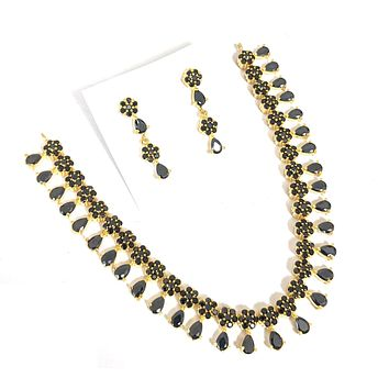 Simple flower design cz stone embedded choker necklace and earring set - One gram gold polished