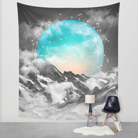 It Seemed To Chase the Darkness Away (Guardian Moon) Wall Tapestry by Soaring Anchor Designs