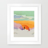 I Like to Watch the Sun Come Up - (White Version) Framed Art Print by Amelia Senville | Society6