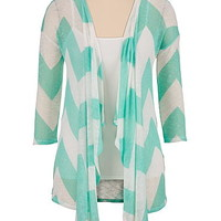ice green chevron stripe hacci cardiwrap