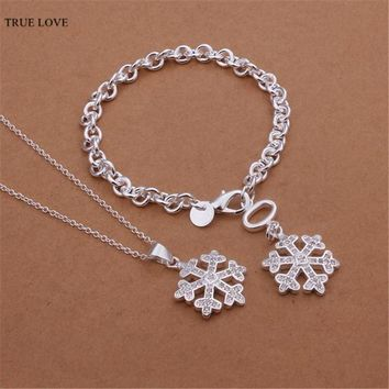 2016 Hot Snowflake Pendant Necklace & Bracelet Fashion Jewelry Set with Zircon beautiful party gift Factory Outlet