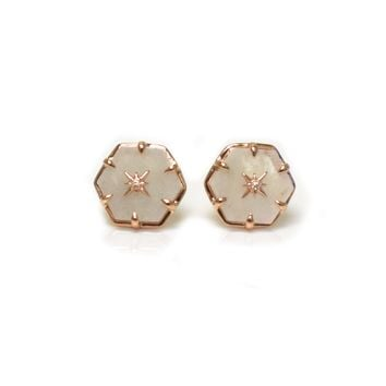 Rose Gold Star Studded Rainbow Moonstone Studs