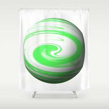 Lime Green & Milky White Sphere Shower Curtain by Moonshine Paradise