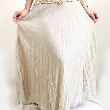 Thai Handmade Beige Crochet Long Skirts for Women,  Boho, Beach wear, Summer Comfortable  one size, Cotton material.