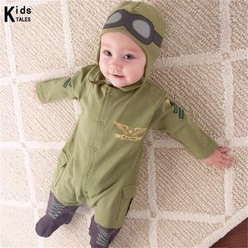 Aviator baby rompers newborn babies spring & autumn clothes baby jumpsuit infant clothes