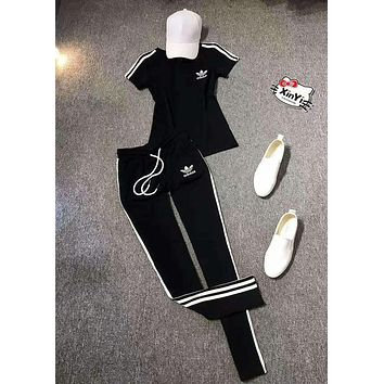 Adidas Women Short sleeve Top Pants Sweatpants Set Two-Piece Set