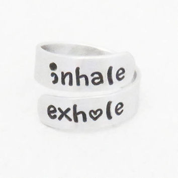 inhale exhale ring - Suicide prevention depression awareness reminder