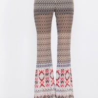 Sugarlips Belle of the Ball Abstract Printed Bell Bottom Boho Pants