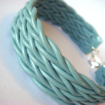 Teal / Seafoam Sparkly Cuff Bracelet  Braided Woven by JustClayin
