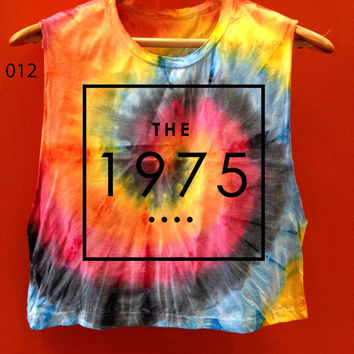 The1975 Tye Dye tank top crop Tie dye  storm green rainbow neon color tye dye t shirt