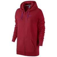 Nike Club Boyfriend Fit Full-Zip Red Fleece Hoodie - Womens