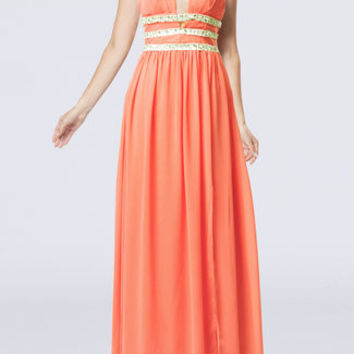 'Tropical Drift' chiffon dress/ floor length