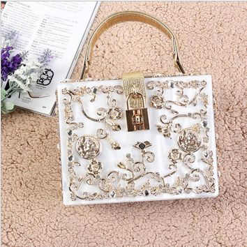 High Quality Women's Lace Handbag Acrylic Famous Brand Style Woman Evening Party Bag Wedding Bags Mini Phone Diamond Box Bag