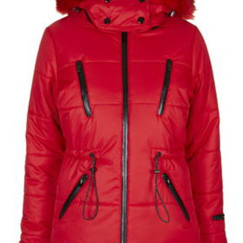 SNO Panelled Puffa Jacket - Red