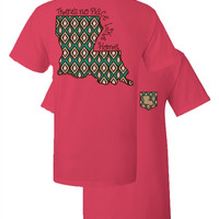 Southern Couture Louisiana Aztec State Pattern Faux Pocket Girlie Bright T Shirt