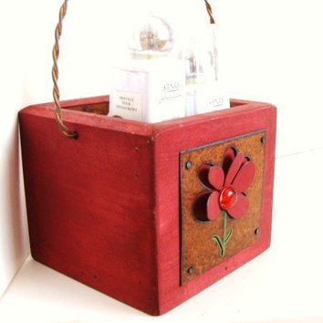 Red Storage Organizer Box Plant Holder Rustic by baconsquarefarm